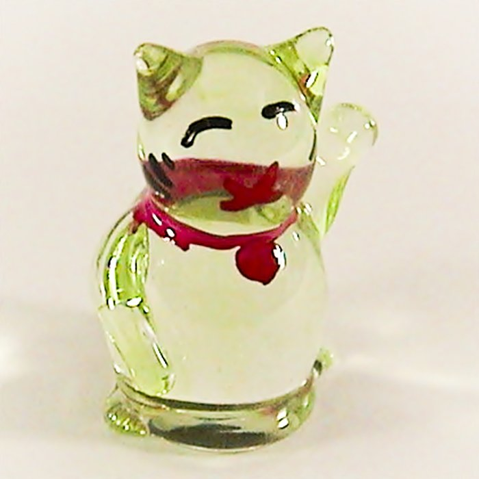 Hand Blown Glass Green Kitty Miniature Glass Animal Figurines Thai Gifts