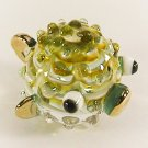 Hand Blown Glass Green-Yellow Puffer Fish Gilt Miniature Glass Animal Figurines Thai Gifts