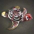 Hand Blown Glass Red Turtle Gilt Art Glass Animal Figurines Thai Gifts