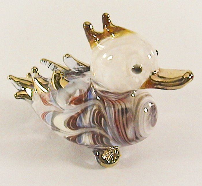 Hand Blown Glass Red-Blue Duck Gilt Art Glass Animal Figurines Thai Gifts