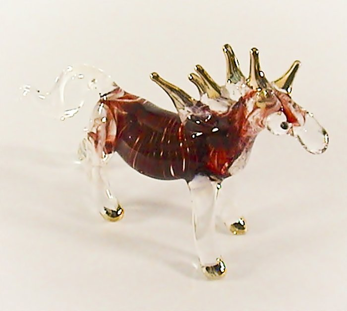 Hand Blown Glass Red White Stripe Horse Gilt Art Glass Figurines Animals Thai Gifts