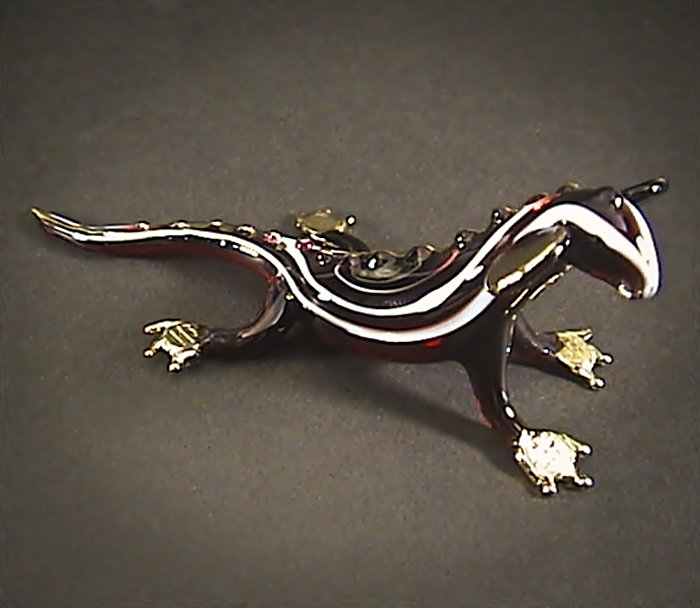 Hand blown Glass Red Chameleon Gilt #2 Art Glass Animal Figurines Thai Gifts
