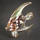 Hand Blown Glass NS-Red-Green Fish Gilt Art Glass Animal Figurines Thai Gifts