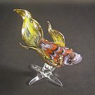 Hand Blown Glass Orange-Yellow Fish Gilt (with a base) Art Glass Animal Figurines Thai Gifts