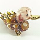 Hand Blown Glass Red-Yellow Duck Gilt Miniature Glass Animal Figurines Thai Gifts