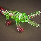 Hand Blown Glass Colorful Crocodile (Alligator) Gilt-S2-Art Glass Animal Figurines Thai Gifts