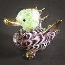 Hand Blown Glass Violet-Green Duck Gilt Miniature Glass Animal Figurines Thai Gifts