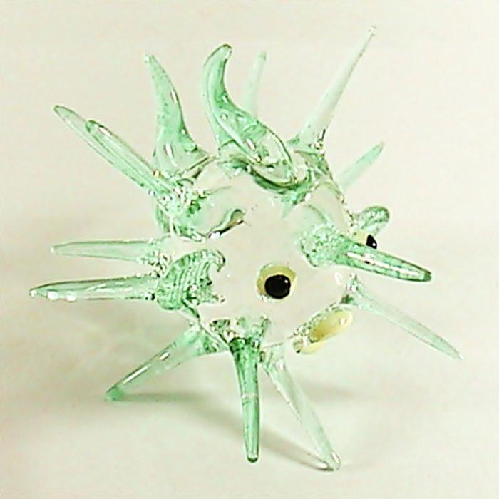 Hand Blown Glass Blue Puffer Fish Art Glass Animal Figurines Thai Gifts