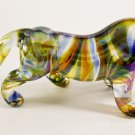 Hand Blown Glass Blue-Violet-Yellow Tiger Gilt Art Glass Animal Figurines Thai Gifts
