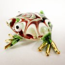 Hand Blown Glass Red-Green Frog Gilt Art Glass Animal Figurines Thai Gifts