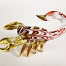 Hand Blown Glass Red-Yellow Scorpion Gilt #2 Art Glass Animal Figurines Thai Gifts