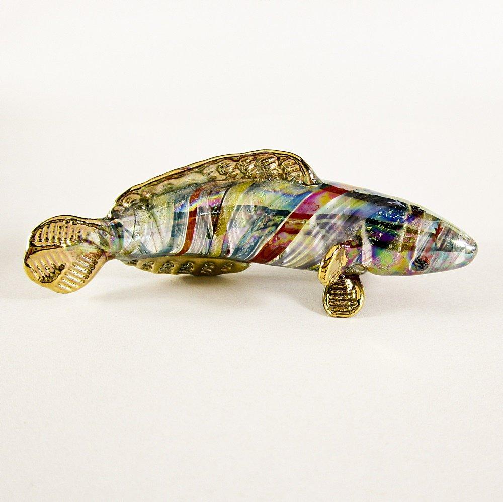Hand Blown Glass Aqua-Orange-Yellow Amazon River Fish Gilt Art Glass Animal Figurines Thai Gifts