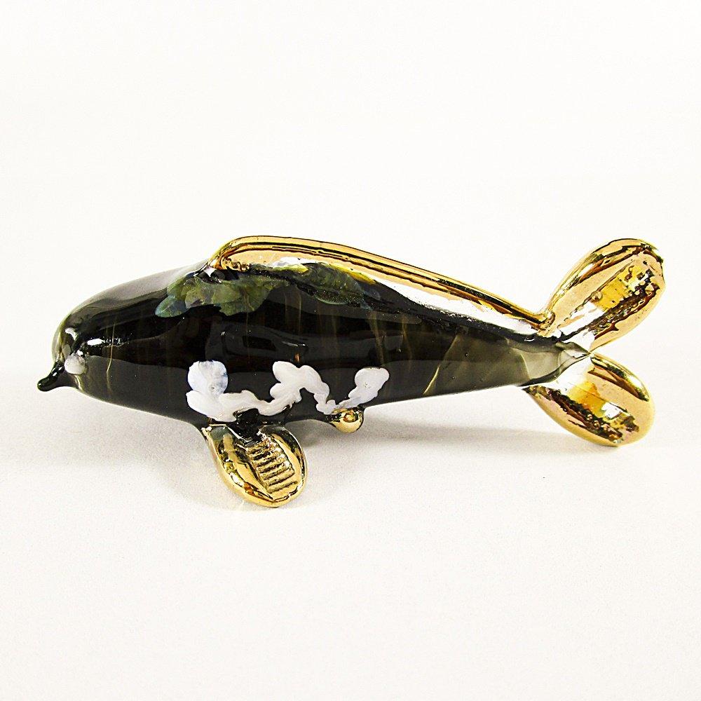 Hand Blown Glass Black Carp (Koi) Fish Gilt Art Glass Animal Figurines Thai Gifts