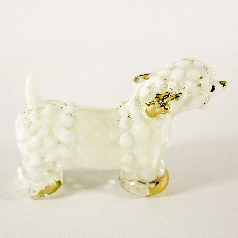 Hand Blow Glass White Poodle Dog Gilt Art Glass Animal Figurines Thai Gifts