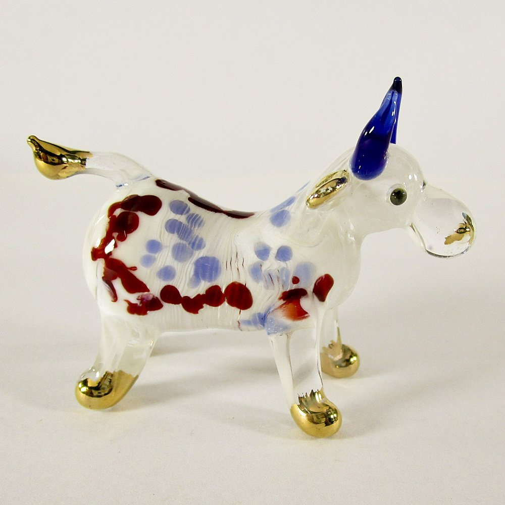Hand Blown Glass Red-Blue Ox (Cow) Gilt Art Glass Animal Figurines Thai Gifts