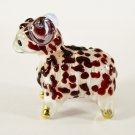 Hand Blown Glass Red Sheep Gilt Miniature Glass Animal Figurines Thai Gifts