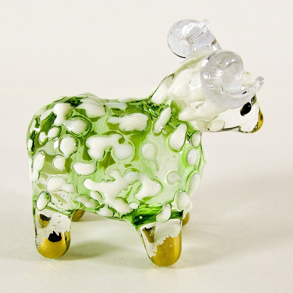 Hand Blown Glass Green Sheep Gilt Miniature Glass Animal Figurines Thai Gifts