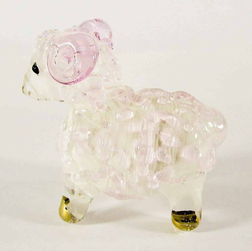 Hand Blown Glass Pink Sheep Gilt Miniature Glass Animal Figurines Thai Gifts
