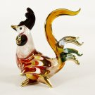 Hand Blown Glass Red-Yellow-Blue Rooster Gilt Art Glass Animal Figurines Thai Gifts