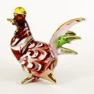 Hand Blown Glass Red-Green-Pink Hen Gilt Art Glass Animal Figurines Thai Gifts
