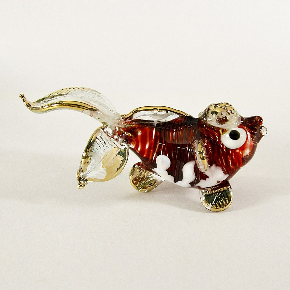 Hand Blown Glass Red Fish Gilt (3 tails) Art Glass Animal Figurines Thai Gifts