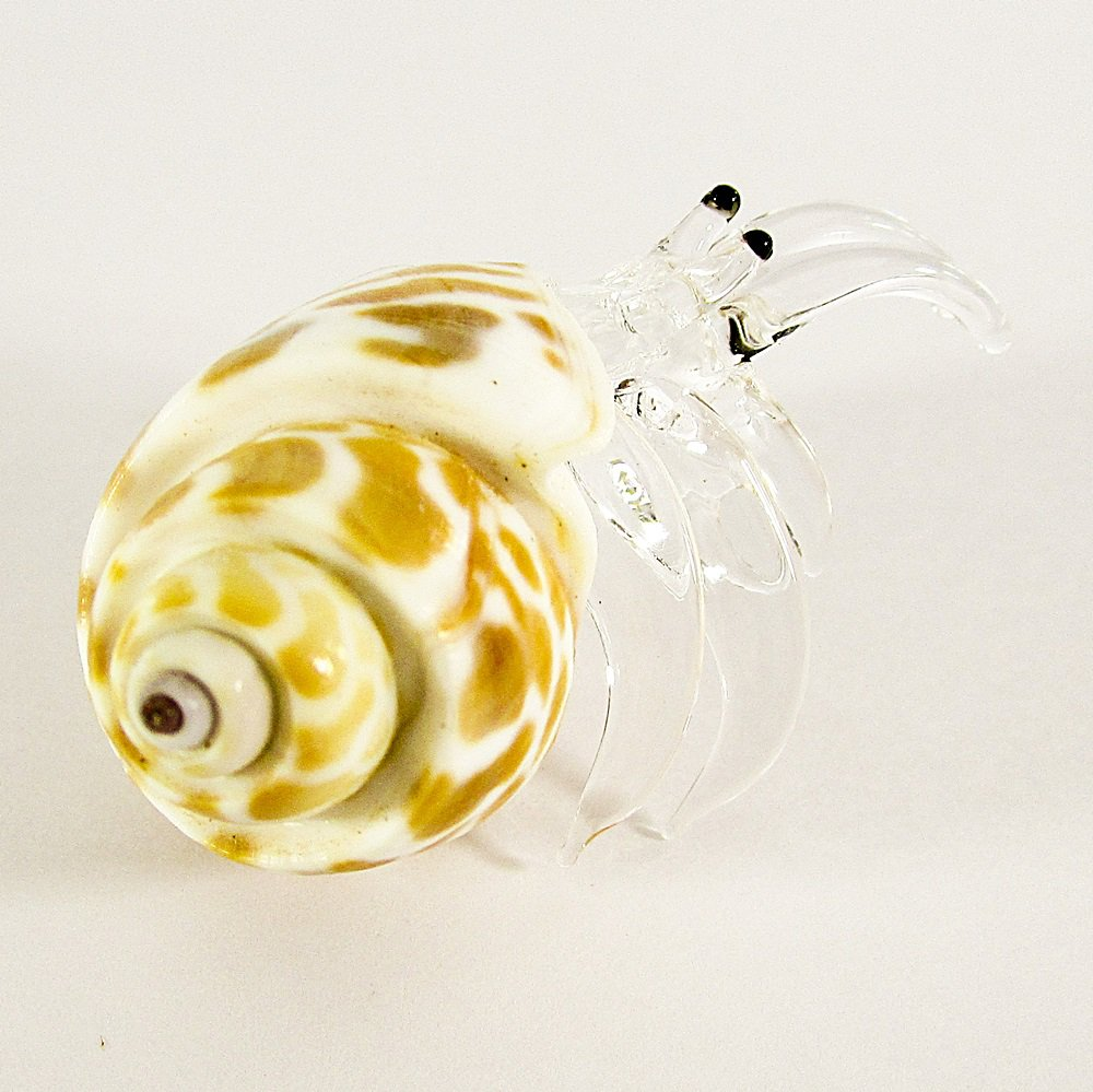 Hand Blown Clear Glass Shell Type 3 Art Glass Animal Figurines Thai Gifts