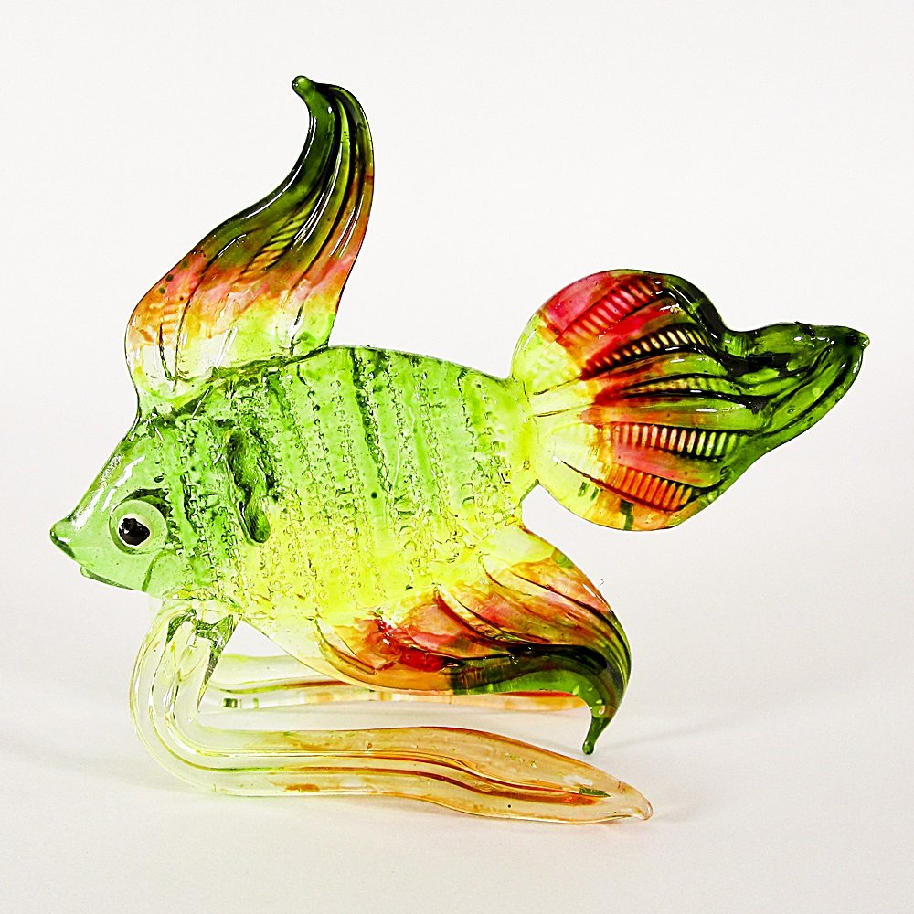 Hand Blown Glass Green-Yellow-Orange-Red Fish Art Glass Animal Figurines Thai Gifts