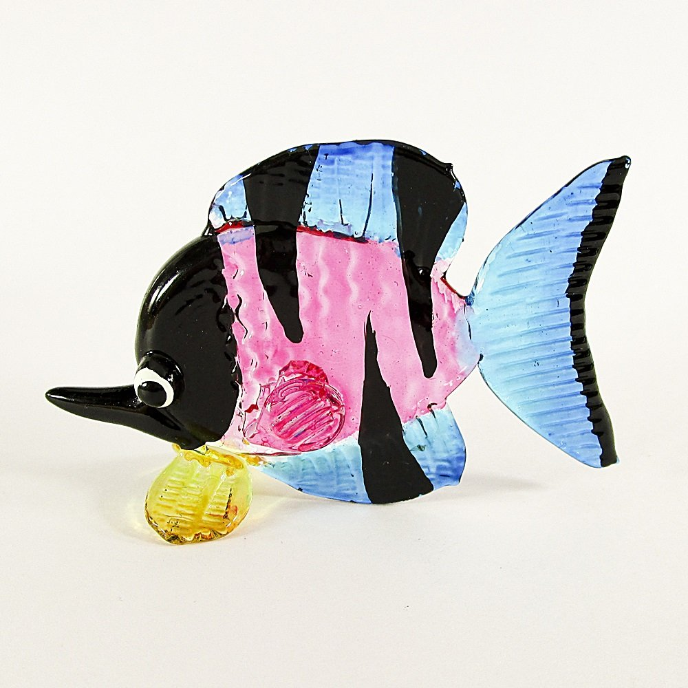 Hand Blown Glass Pink-Blue-Black-Yellow Fish