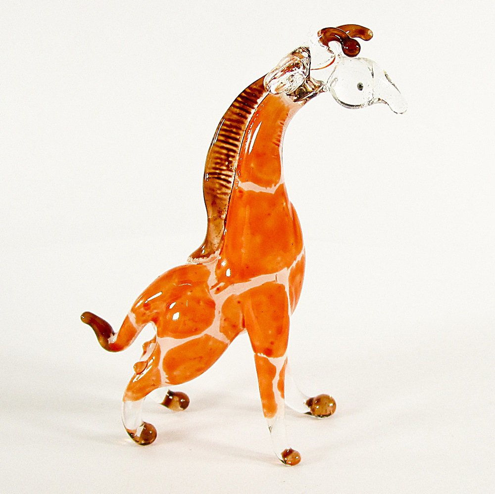 Hand Blown Glass Orange Giraffe 3 Miniature Glass Animal Figurines Thai Gifts