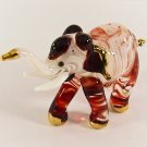 Hand Blown Glass White-Red Elephant Gilt Art Glass Animal Figurines Thai Gifts