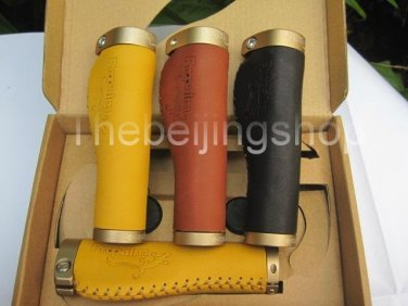 TW Bicycle Handlebar Grip Leather Cover with Lock