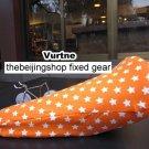 Vurtne Fixed Gear Bike Seat Cover (Orange & star /Standard)