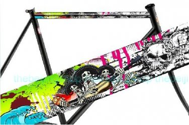 BMX / Fixie Bike Bicycle Frame Tube Sticker (Pirate Skull)