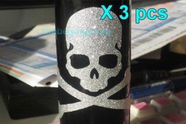 Bling Bling Skull skeleton Fixed Gear Bicycle Sticker x 3 pcs