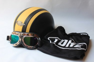 New Motorcycle half face helmet (yellow) with goggles