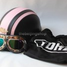 Motorbike Motorcycle half face helmet with goggles (Pink)
