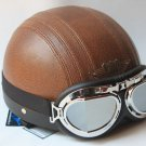 half face scooter motorcycle helmet (brown) with goggles
