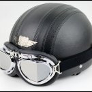 half face scooter motorcycle PU leather helmet goggle