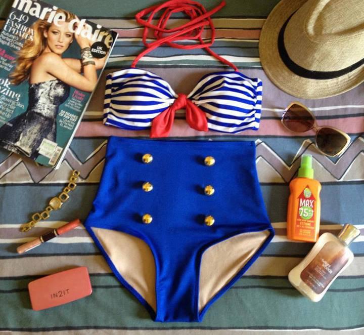 Vintage Retro Pin Up Blue Stripes Nautical Sailor High Waist Bikini Swimsuit Swimwear