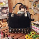NEW Rivet Package Stitching Flannel Bag (HANDBAG) (BLACK)