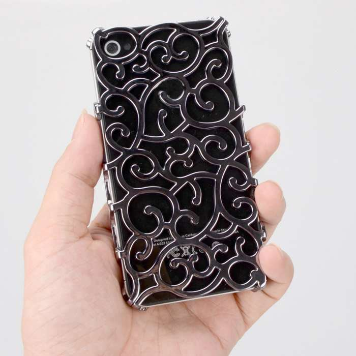 Phone (GREY) Case for iPhone 4/4s elastic flower plating hard plastic
