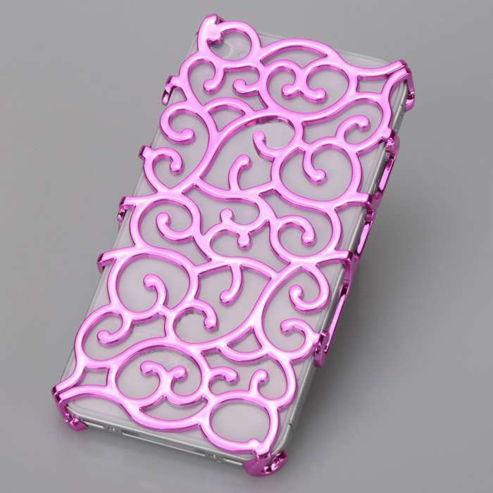 (PURPLE) Phone Case for iPhone 4/4s elastic flower plating hard plastic