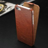 Luxury Retro PU Leather iPhone 5 Case Cover (BROWN)