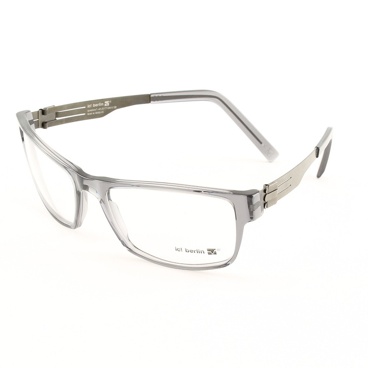 ic! Berlin Wissam Eyeglasses Col. crystal grey with Clear Lenses