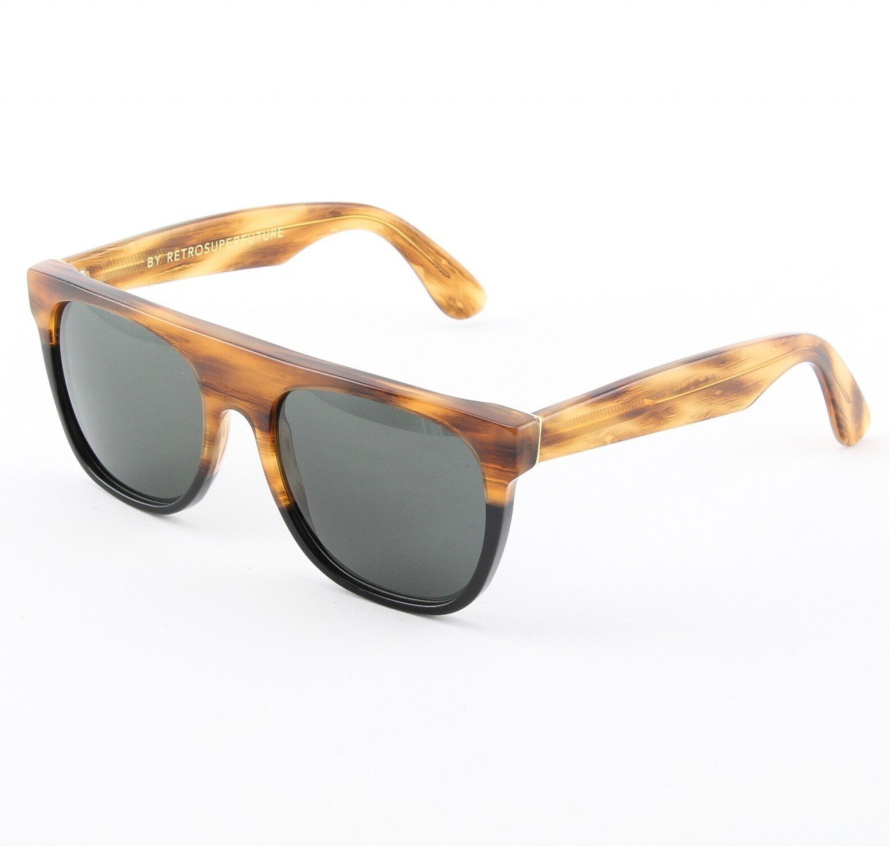 Super Flat Top 801/3T Sunglasses Color Brown Havana and Black by RETROSUPERFUTURE