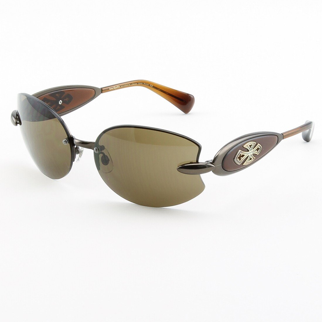 Loree Rodkin Carrie Sunglasses Bronze w/ Brown Lenses, Sterling Silver and Swarovski Crystals