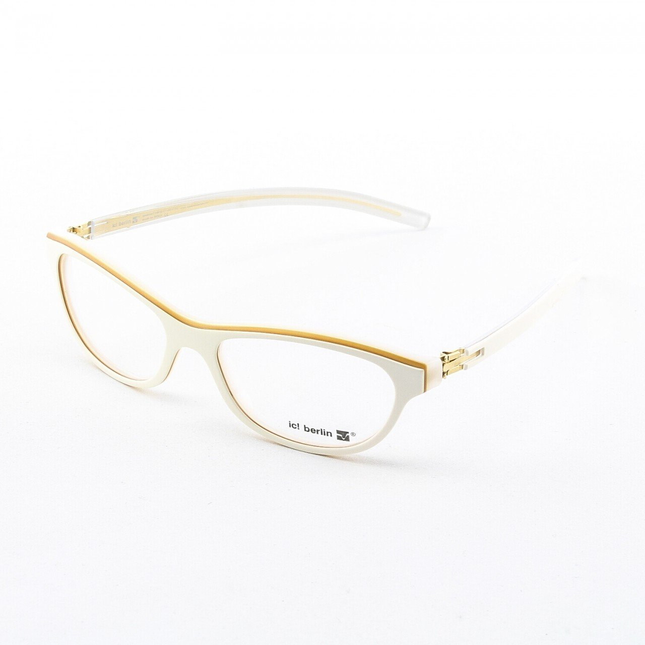 ic! Berlin Cosmic Ray Eyeglasses Col. Ivory/Gold Trim with Clear Lenses
