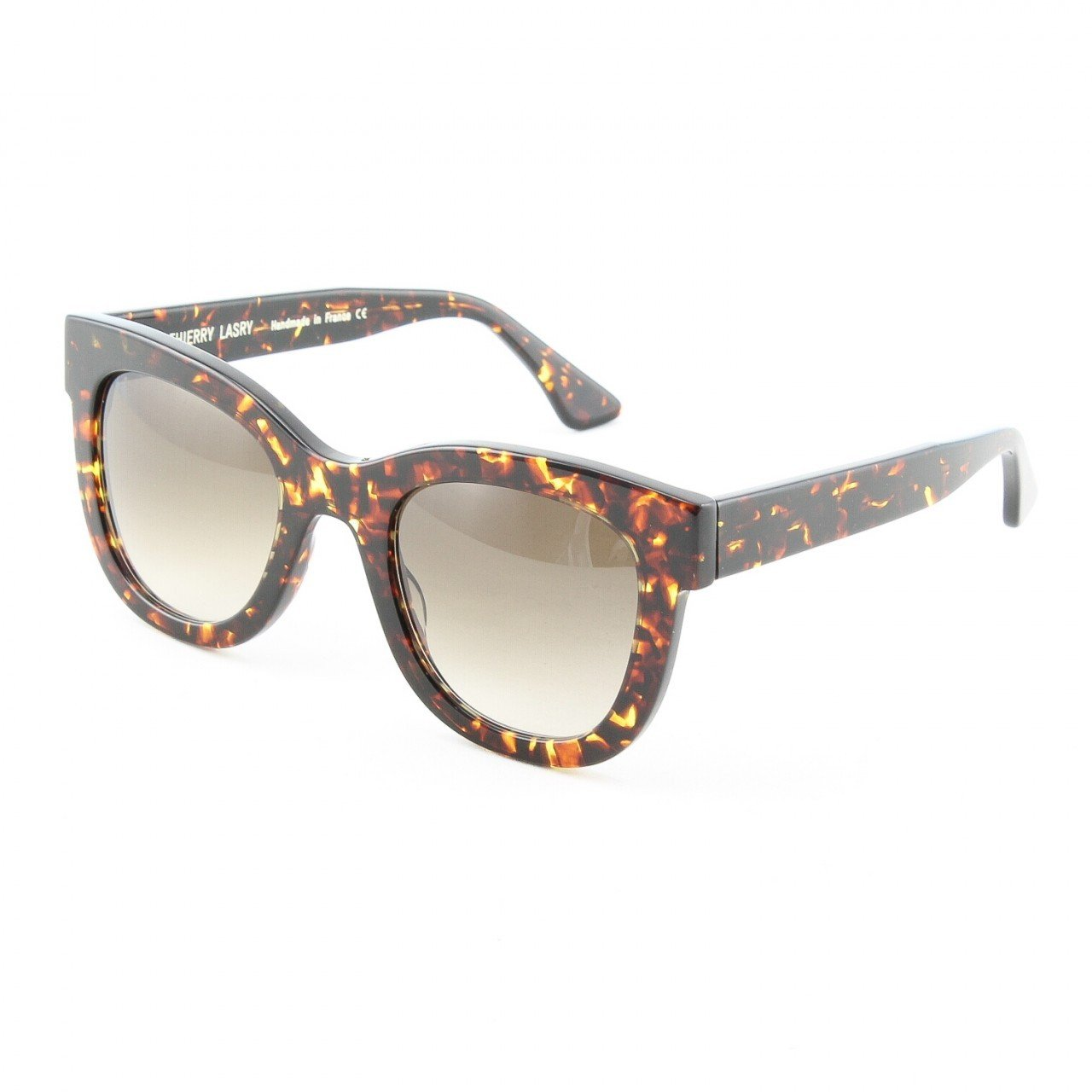 Thierry Lasry Obsessy Sunglasses 420 Brown Gold Marble Frame Grey Gradient Lens