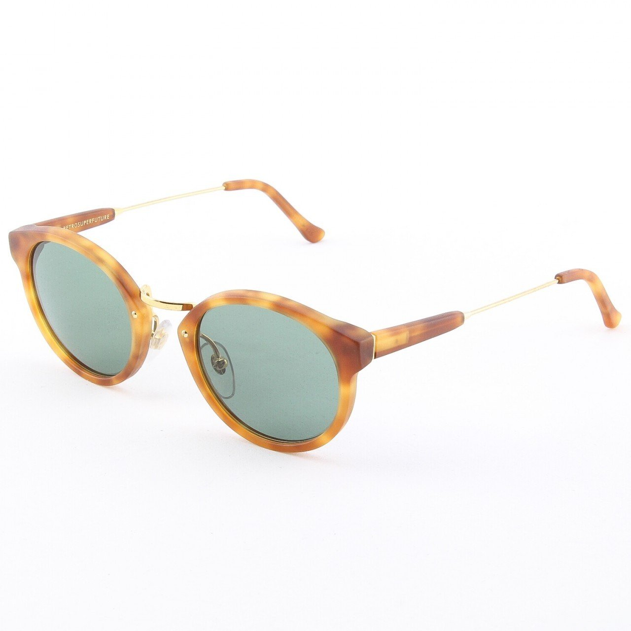 Super Panama BHM 474/2T Sunglasses by RETROSUPERFUTURE Color Brown Havana with Green Zeiss Lenses