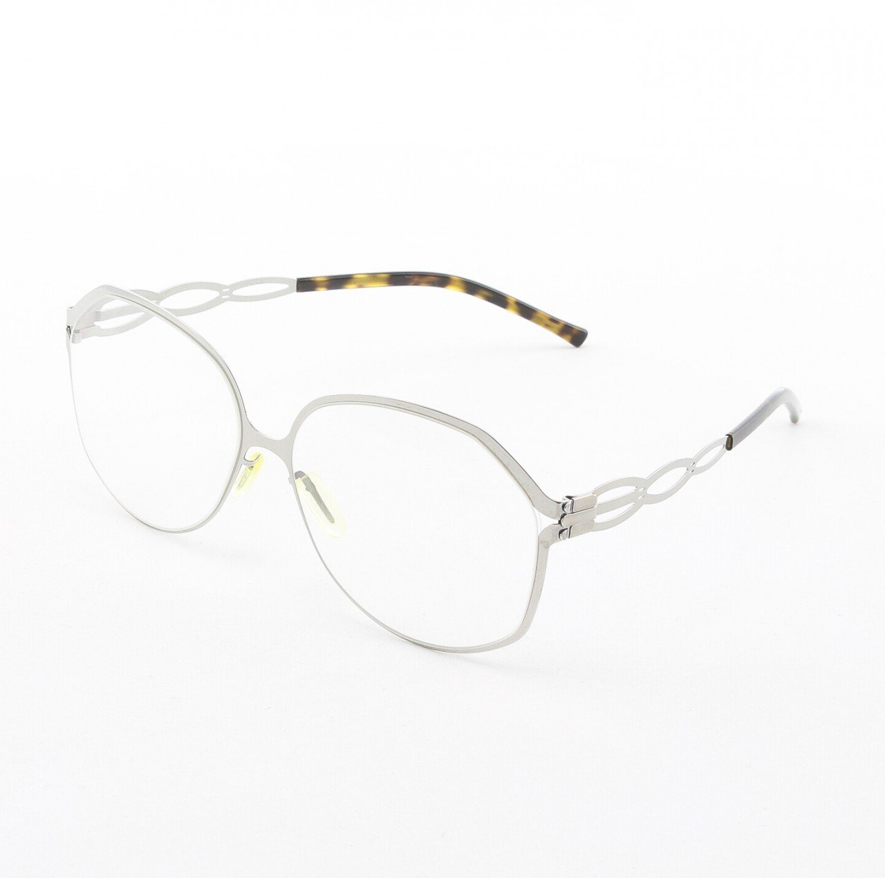 ic! Berlin Dimanche Eyeglasses Col. Chrome / Tortoise with Clear Lenses